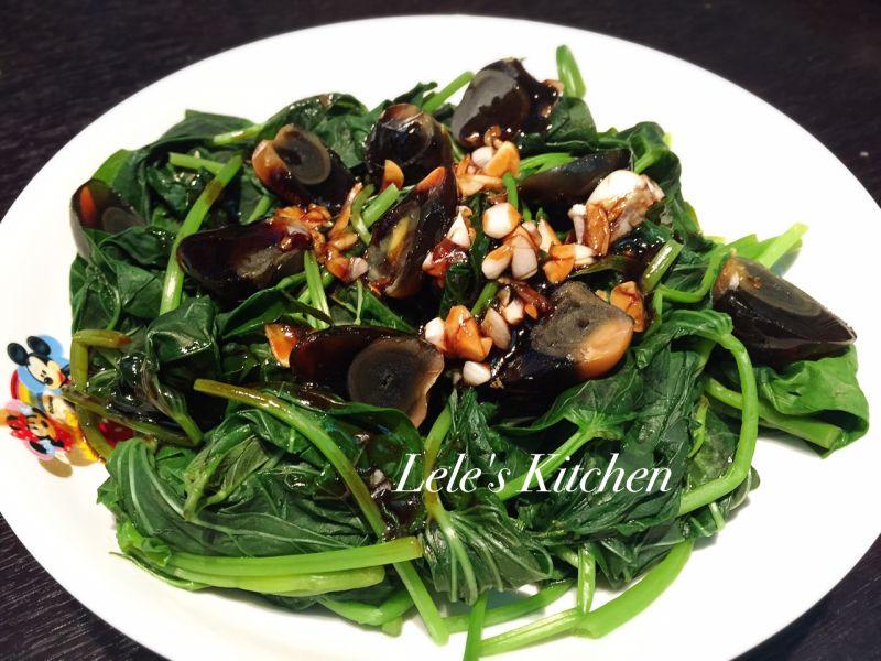 皮蛋地瓜葉(免油健康版)食譜、做法 | 樂樂的小資廚房的Cook1Cook食譜分享