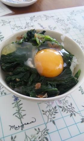 ほうれん草のおひたしの卵かけご飯