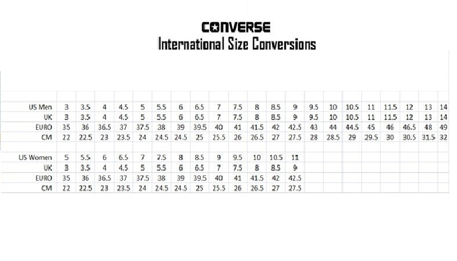 Converse Size Chart Indonesia Homeschoolingforfree