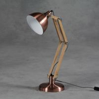 Vintage Copper and Wood Desk or Table Lamp Retro Iconic ...