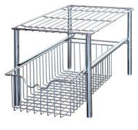 Two Tier Cabinet Stackable Sliding Basket Drawer Racks ...