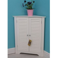 Vintage Bathroom Corner Cabinet Wooden Storage Unit With