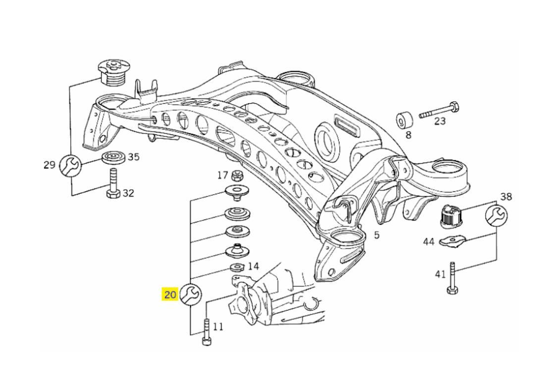 A2103507308 MERCEDES W210 REAR AXLE SUBFRAME REPAIR KIT