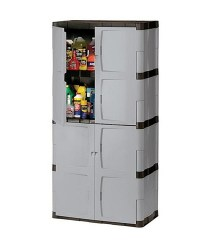 "72"" Tall Resin Utility Storage Cabinet w Full Double ..."