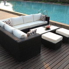 3 Seater Rattan Effect Mini Corner Sofa Black What Can I Use To Clean My Suede Uk 1 Havana
