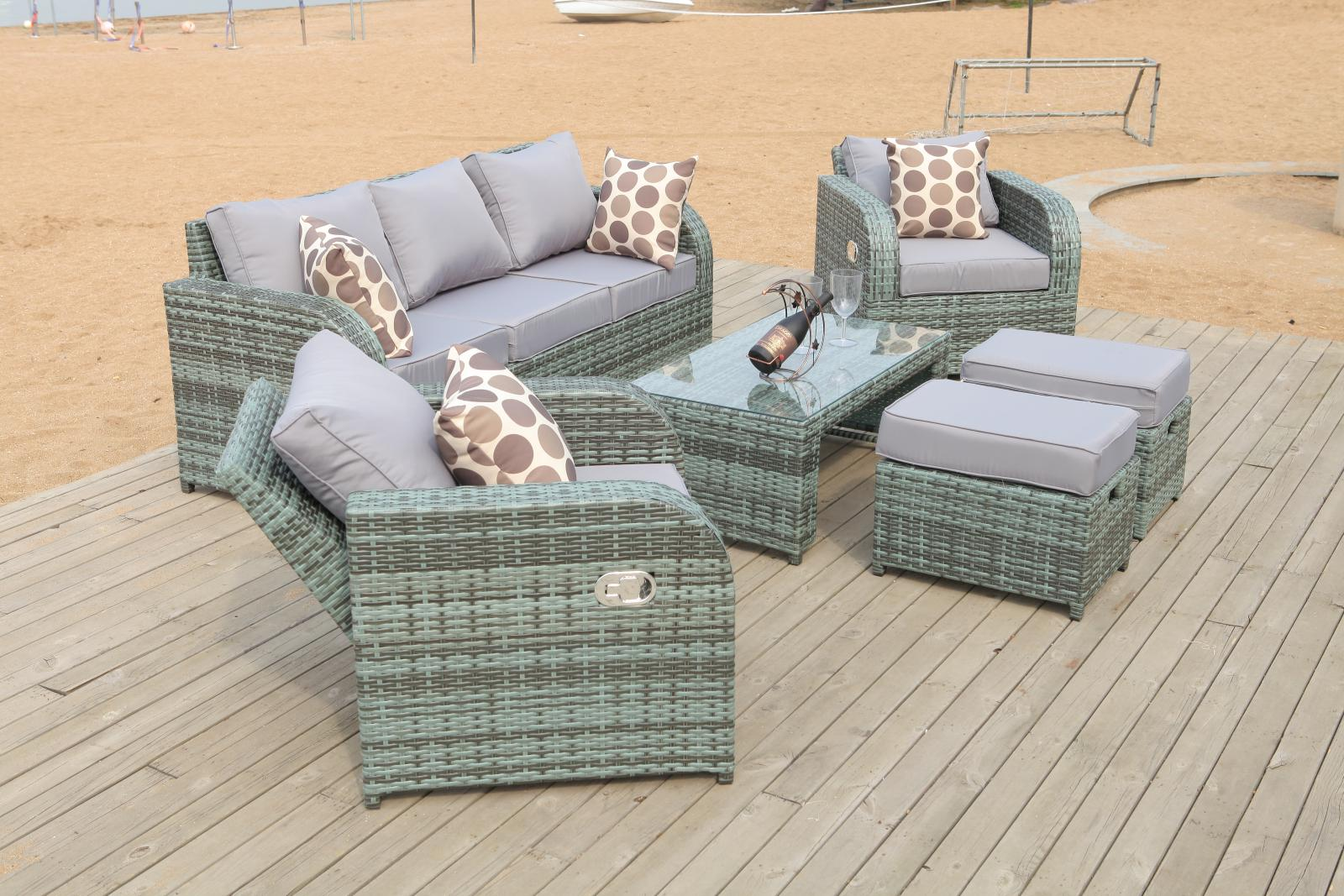 outdoor recliner chairs uk wooden rocking white grey rattan garden furniture set sofa reclining