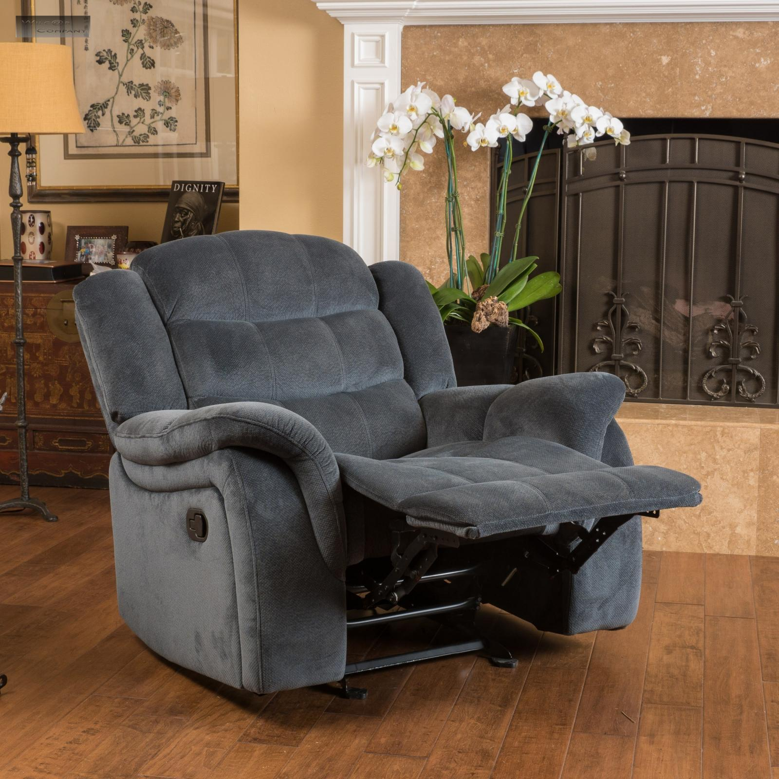 Gray Recliner Chair Brown Fabric Recliner Glider Lazy Chair Reclining Seat