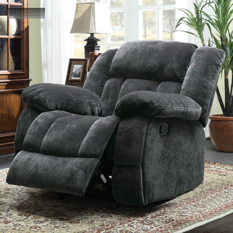 Grey Rocker Glider Double Recliner Loveseat Lazy Sofa