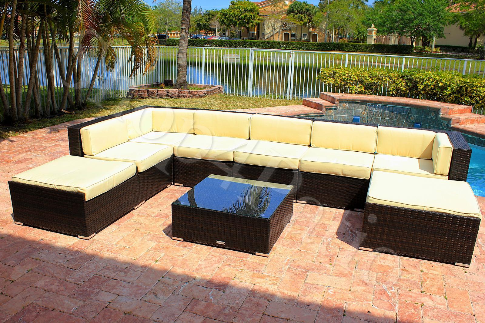 Modern Patio Furniture Garden Wicker Modular Sofa