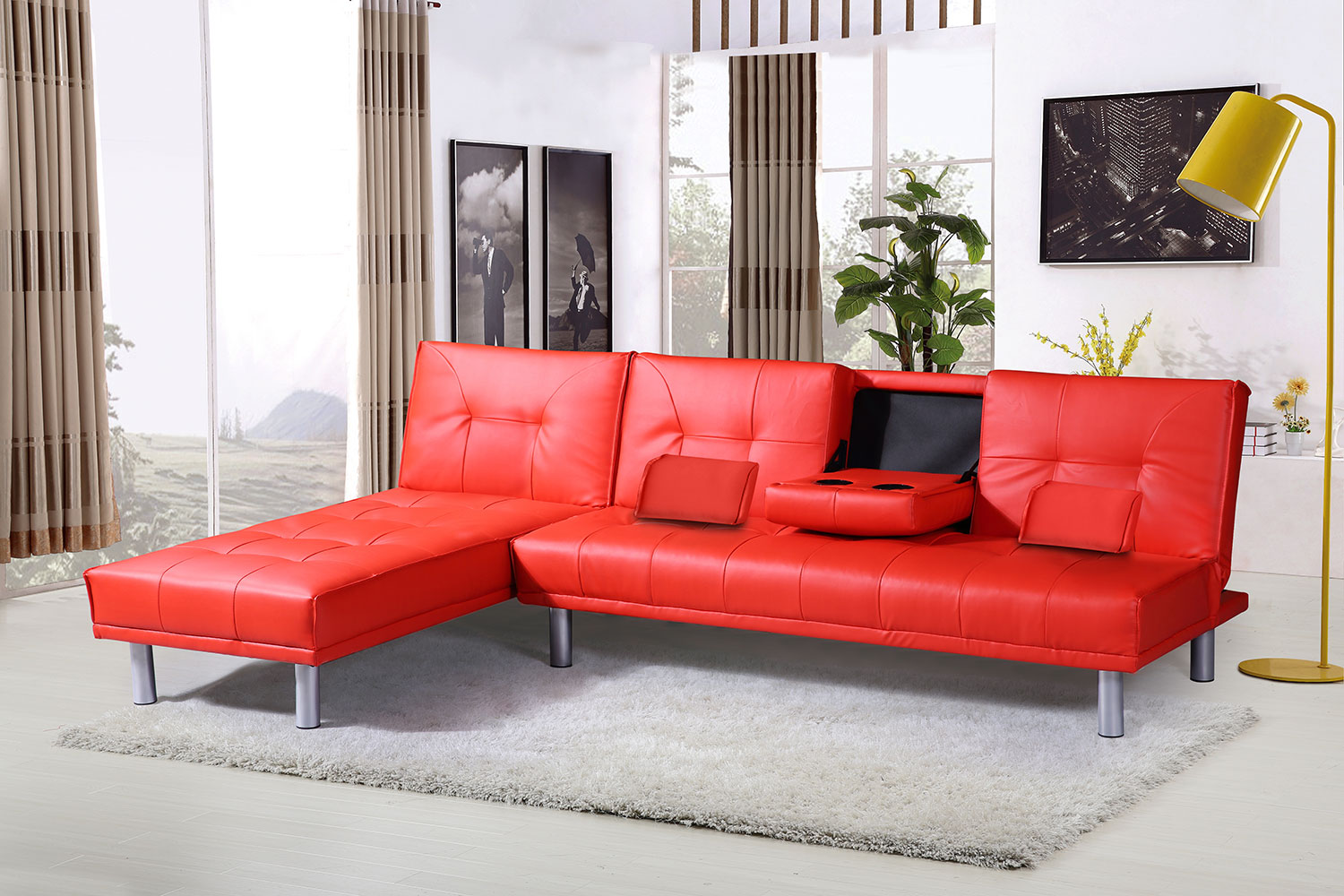 corner sofa bed new york ashley furniture loveseat modern 4 seater l shaped faux leather