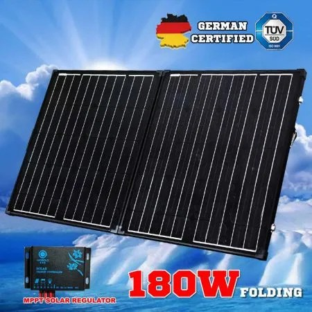 Megavolt 12V 180W Folding Solar Panel Kit Black Silicon
