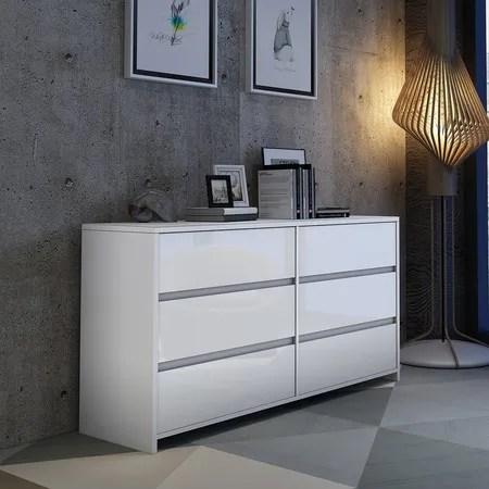 modern 6 drawer chest dresser high gloss storage cabinet wood bedroom furniture white