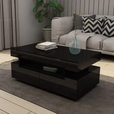modern black coffee table 4 drawer storage shelf high gloss wood living room furniture