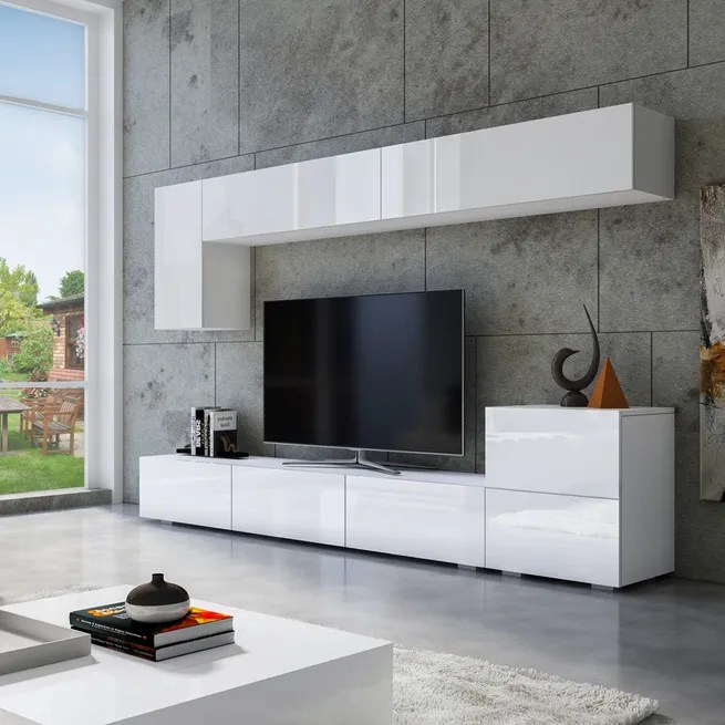 Wall Hanging Tv Cabinet Bench Set High Gloss Front White Crazy Sales