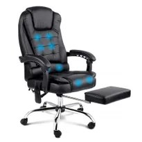 8 Point Massage Office Chair With Retractable Footrest Black