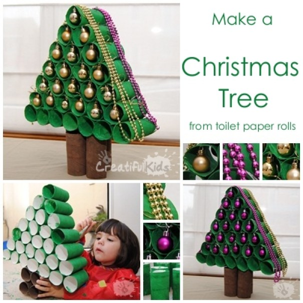 kids crafts activity christmas tree from toilet rolls
