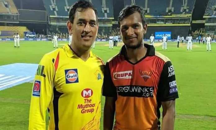 Cricket Image for Csk Captain Ms Dhoni Teaches Important Spells Of Cricket To T Natrajan