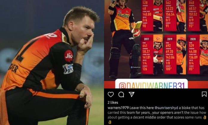 IPL 2021 - David Warner younger brother slams SRH management for sacking his brother