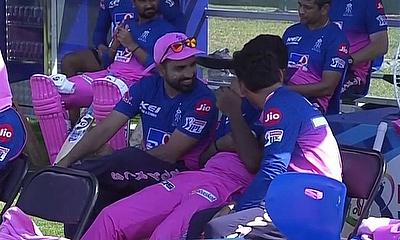 Rajasthan Royals keeping cool in the dug out