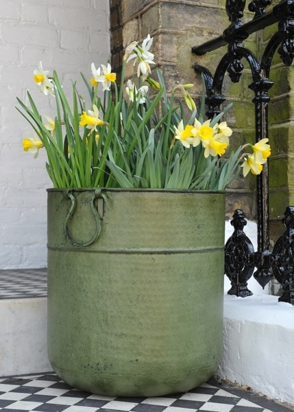 Buy Verdigris Tall Metal Planter Delivery By Crocus