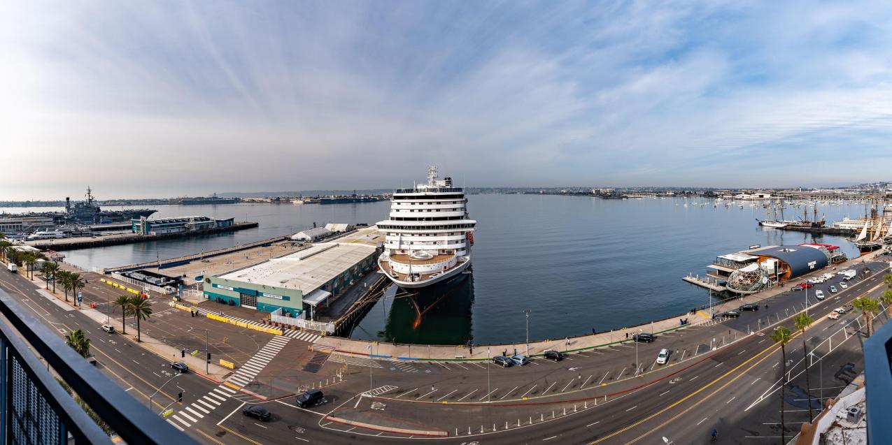 The Port of San Diego, with Koningsdam alongside. (Photo: Holland America Line)