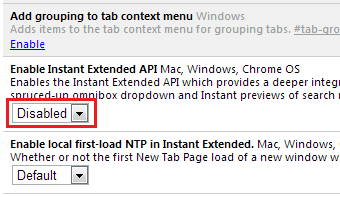 Switch to old new tab page on chrome
