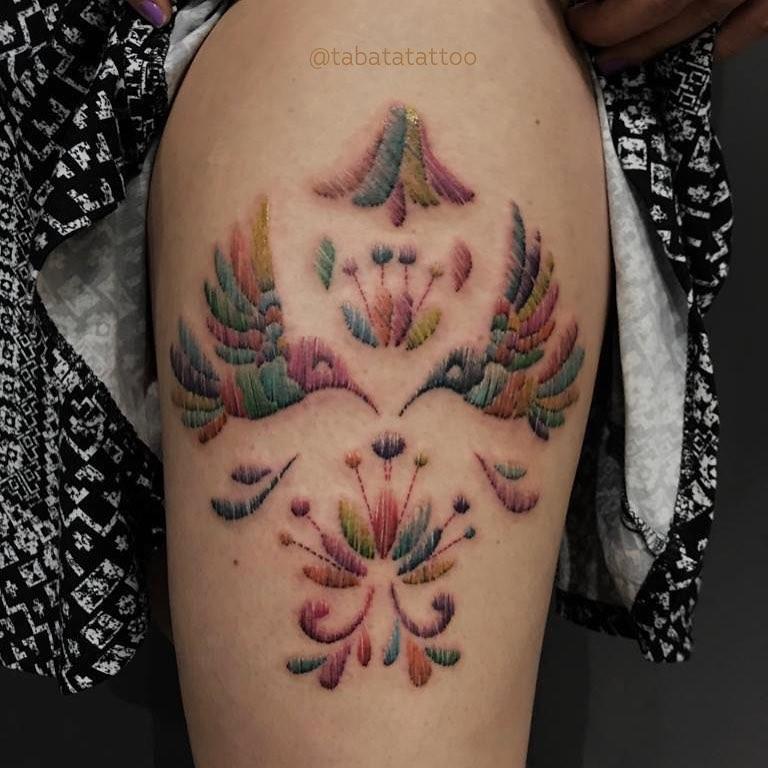 15 ideas de tatuajes de bordados huicholes y otomíes 14