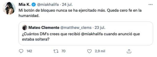 Tuit, de los mensajes de acoso que recibe Mia Kahlifa