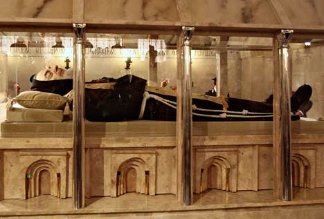The exhumed body of Padre Pio went on display today 40 years after his death