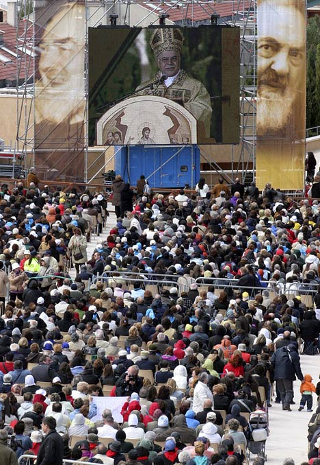 Thousands of pilgrims travelled to San Giovanni Rotondo, in sourthern Italy, to see the saint's body