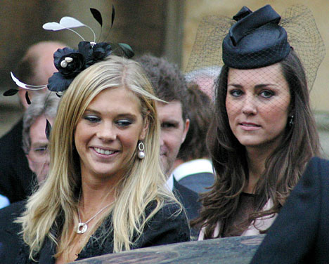 Chelsy Davy Kate Middleton at Peter Phillips Autumn Kelly wedding 17 May 2008