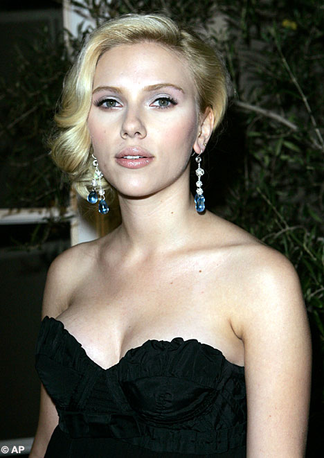 Scarlett Johansson in black bandeau dress
