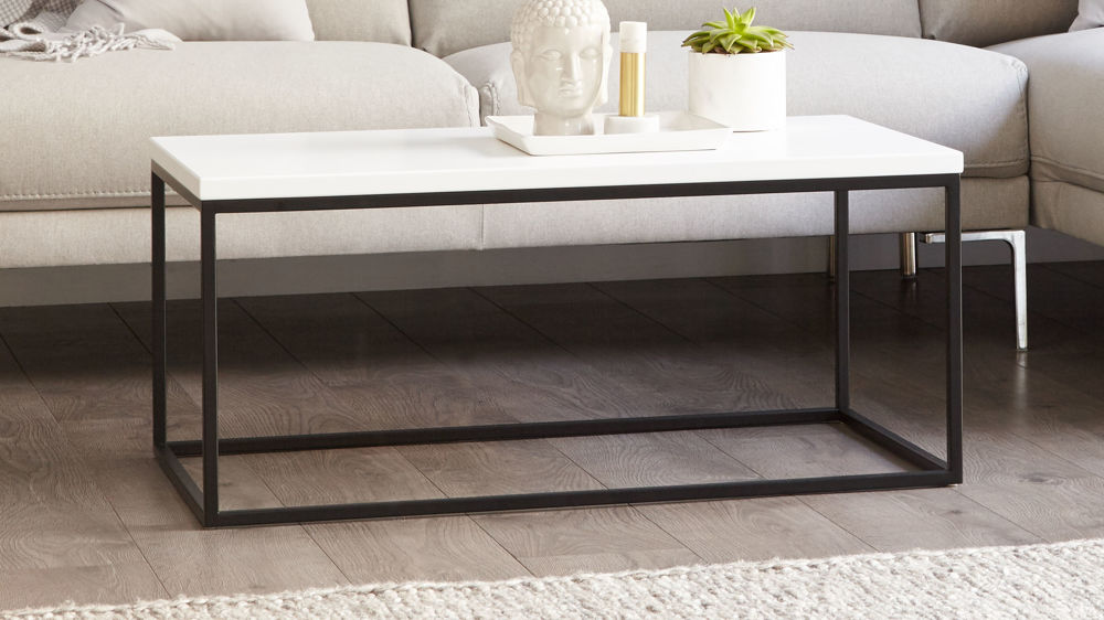 Large Matt White and Black Powder Coated Coffee Table