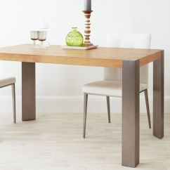 Oak Kitchen Table Contemporary Art For Angola 4 Seater Modern Dining And Brushed Metal Legged