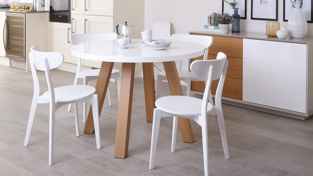 dining table and chair set uk lucite office modern round 4 seater | white gloss