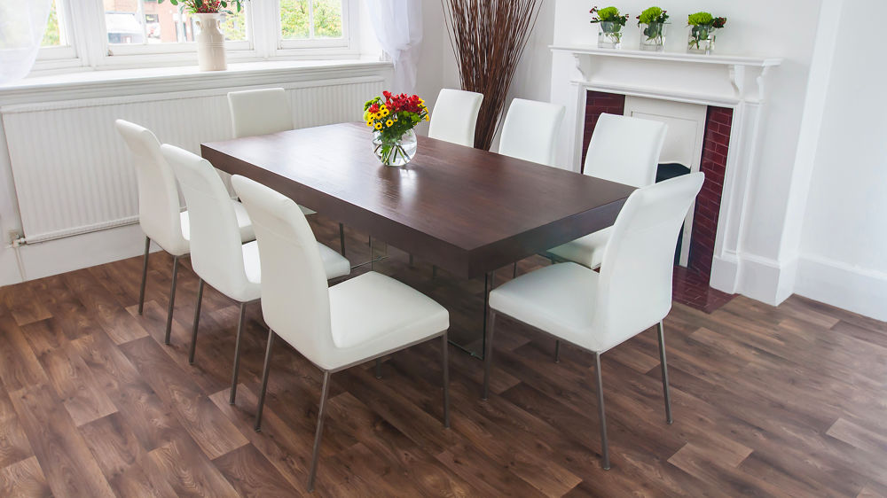 Dark Wood Funky Dining Set  Glass Legs and Chunky Table Top  Modern Chairs