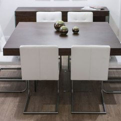 White Leather Kitchen Bar Stools Sheet Vinyl Flooring Modern Square Dark Wood Dining Set | Glass Legs Real ...