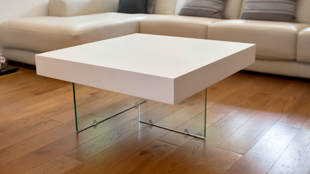Square White Oak Coffee Table Tempered Clear Glass Legs