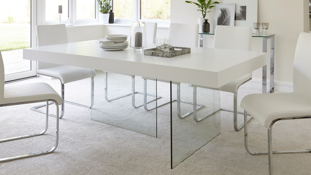 Aria White Oak and Glass 6 to 8 Seater Dining Table  Danetti
