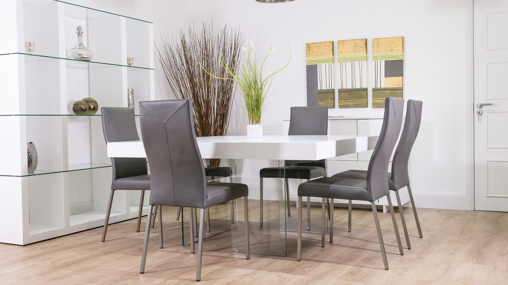 Aria White Oak And Square Glass Dining Table