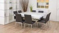 Large Square White Oak Dining Table | Trendy Glass Legs ...