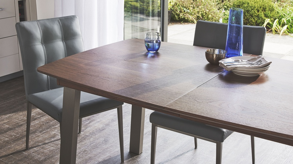 Walnut Extending Table And Leather Dining Chair Set