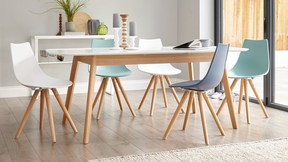 oak and white dining chairs rocking table 8 seater extending