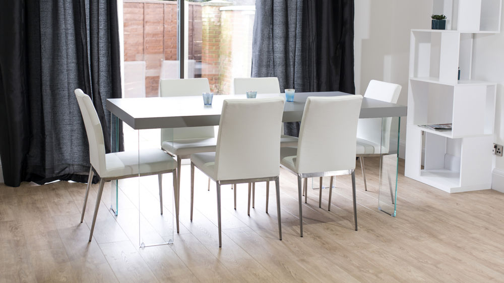Modern Grey Oak Dining Table Glass Legs Seats 6 To 8