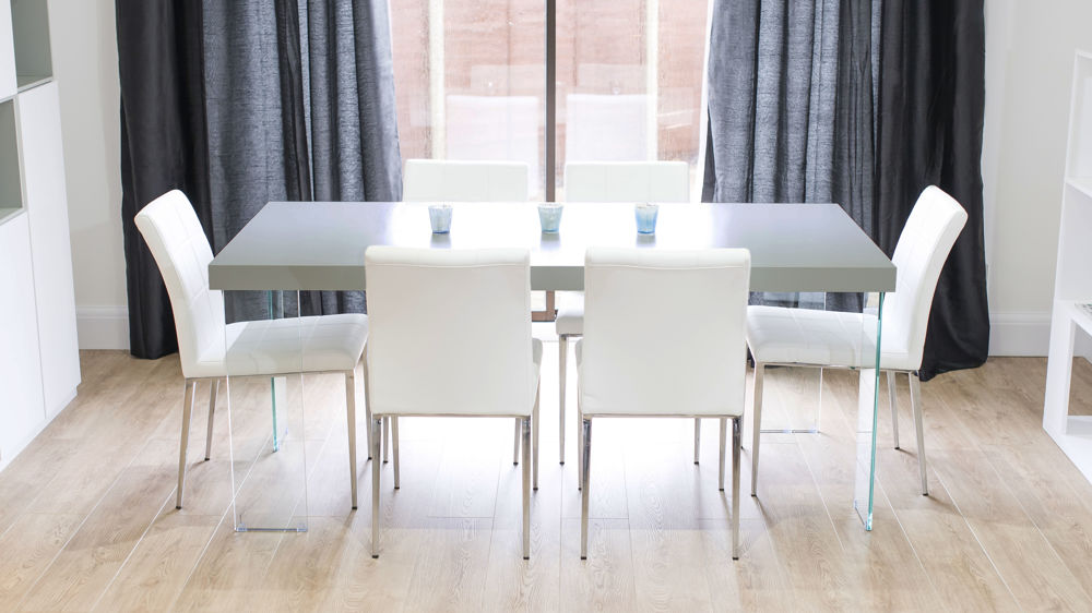 4 seater table and chairs dining target chunky grey oak | glass legs white or quilted
