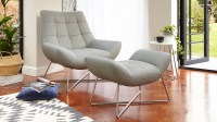 Modern Leather Armchair | Brushed Metal Cross Base | UK
