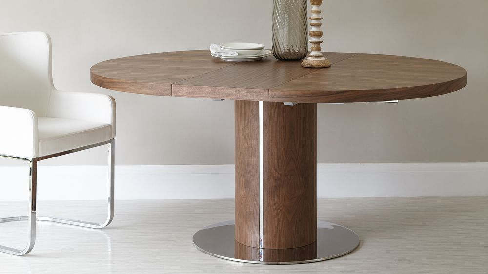 Round Walnut Extending Dining Table