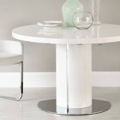 White Round Kitchen Table Wood Tables Gloss Extending Dining Pedestal Base