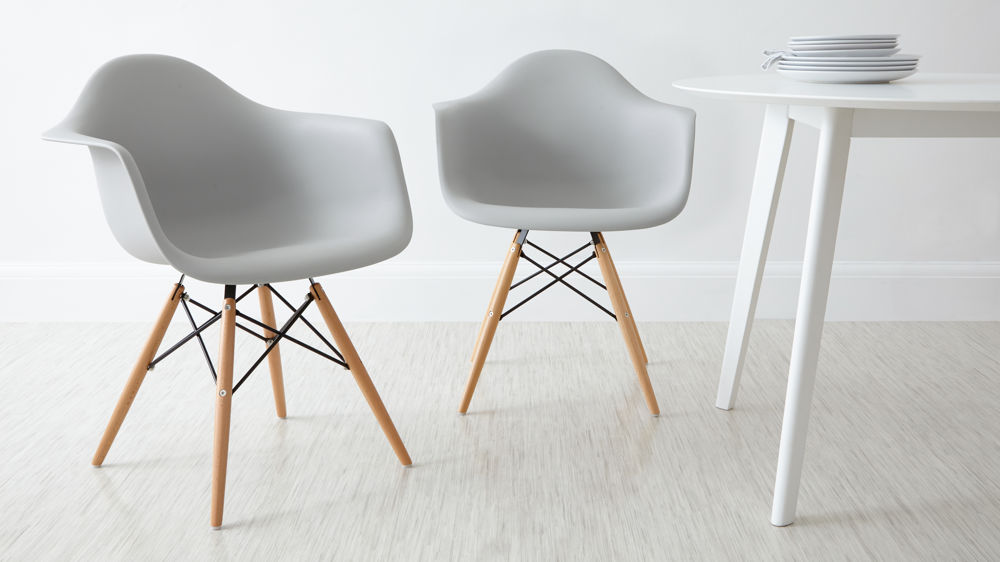 eames arm chair oka dining room covers high quality uk fast delivery light grey armchairs