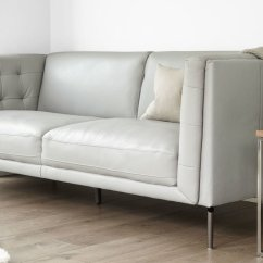 Moods 3 Seater Leather Sofa Bed Recover Uk 2 To Living Room Seating Two Grey Buttoned